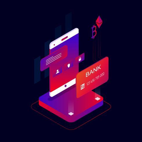 Illustrazione isometrica di vettore di concetto 3d di pagamenti mobili