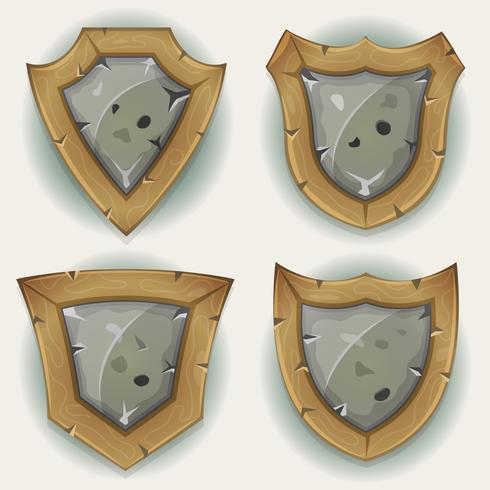 Icone di sicurezza scudo pietra e legno vettore