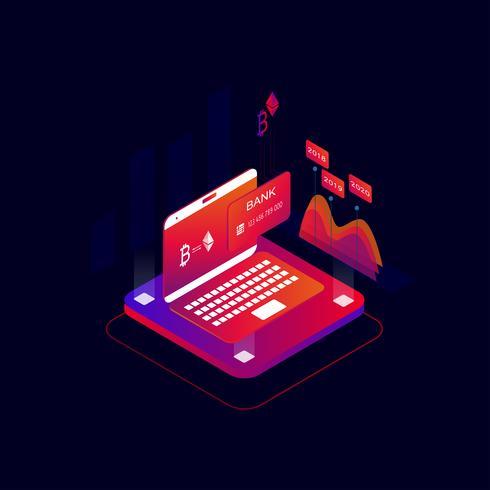 Illustrazione isometrica di vettore di concetto 3d di pagamenti online