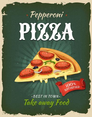 Poster di pizza di peperoni retrò retrò vettore