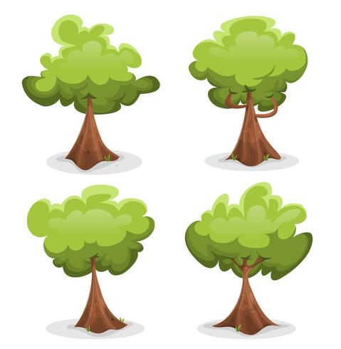 Set di alberi verdi divertenti vettore