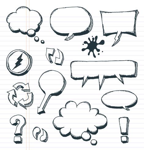 Frecce, Speech Bubbles e Doodle Elements Set vettore