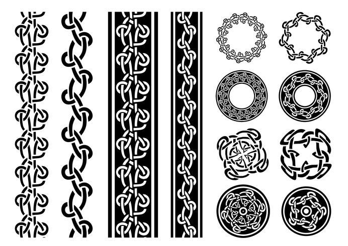 Set di bordi, motivi e anelli celtici vettore