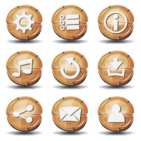 Divertenti icone e bottoni in legno per il gioco dell'interfaccia utente vettore