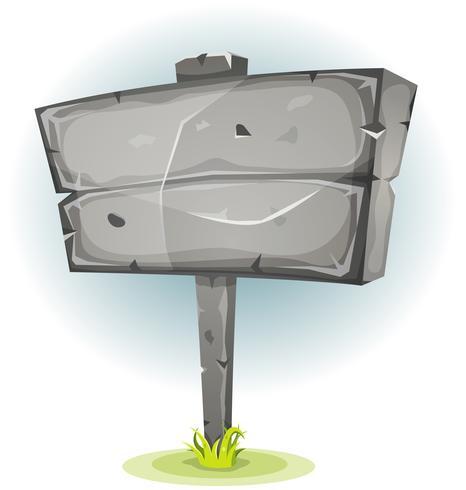 Cartello pubblicitario in pietra dei cartoni animati vettore