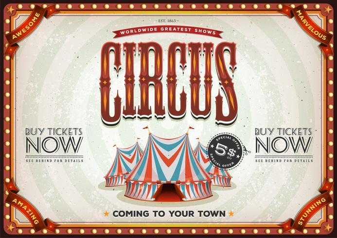 poster vintage vecchio circo vettore
