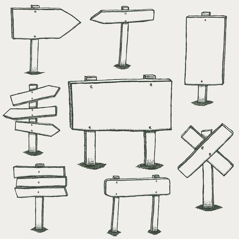 Doodle segni di legno e frecce di direzione vettore