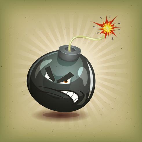 personaggio vintage bomba arrabbiata vettore