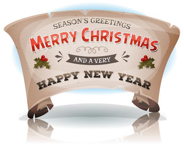 Felice anno nuovo e buon Natale su pergamena di scorrimento vettore