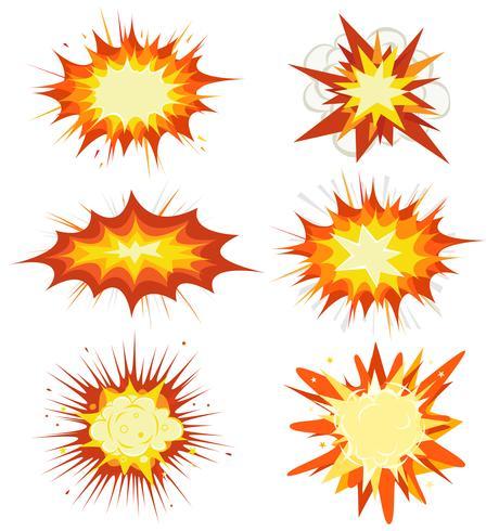 Esplosione di fumetti, bombe e esplosione vettore