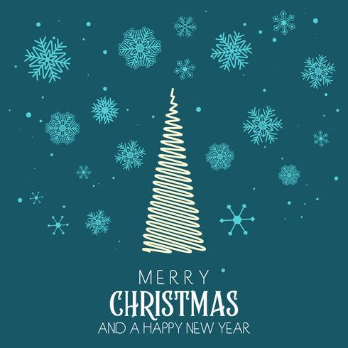 Sfondo di Natale con disegno albero e fiocco di neve vettore