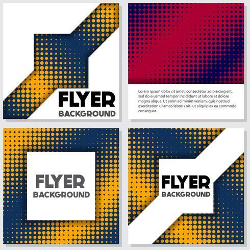 halftone Flyer style background Modello di progettazione vettore