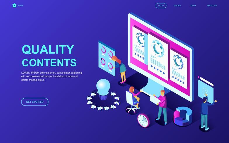Banner Web di contenuti di qualità vettore