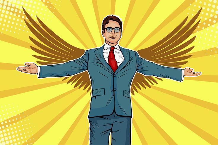 Uomo d'affari con le armi e le ali ampiamente diffuse. Business angel, investitore o concetto di sponsor. Illustrazione in stile fumetto retrò pop art vettore