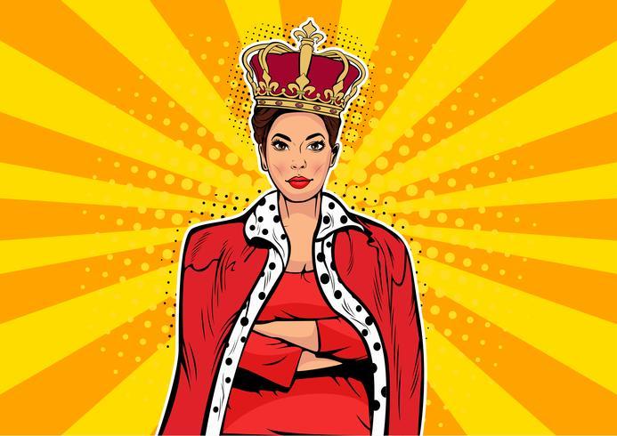 Regina d'affari. Imprenditrice con corona. Capo donna, capo del successo, ego umano. Il retro fumetto di Pop art di vettore annega l'illustrazione.