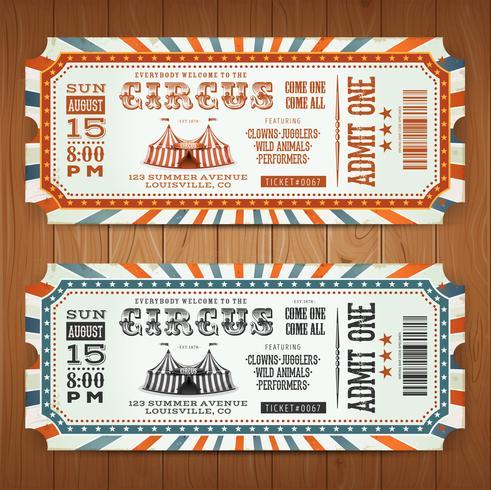 Biglietti Vintage Retro Circus vettore