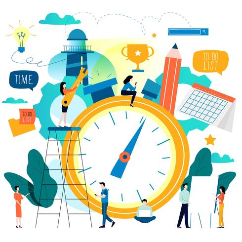 Gestione del tempo, pianificare la progettazione di illustrazione vettoriale piatta per la grafica mobile e web
