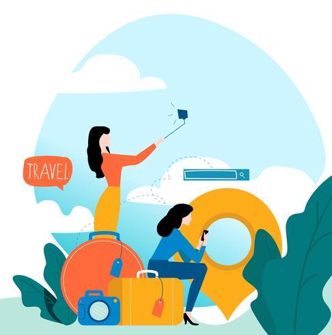 Viaggi, vacanze, persone che viaggiano vettore
