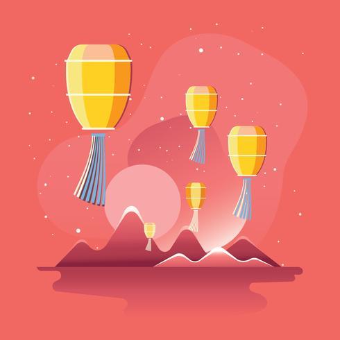 Illustrazione del Festival delle Lanterne del cielo di Taiwan vettore