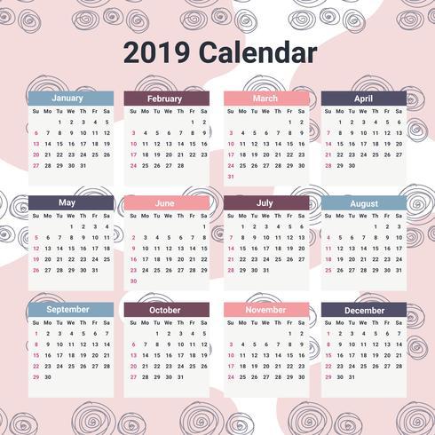 2019 Calendario stampabile vettore
