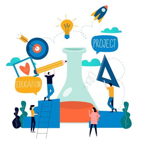 Ricerca, educazione, progetto di laboratorio scientifico vettore