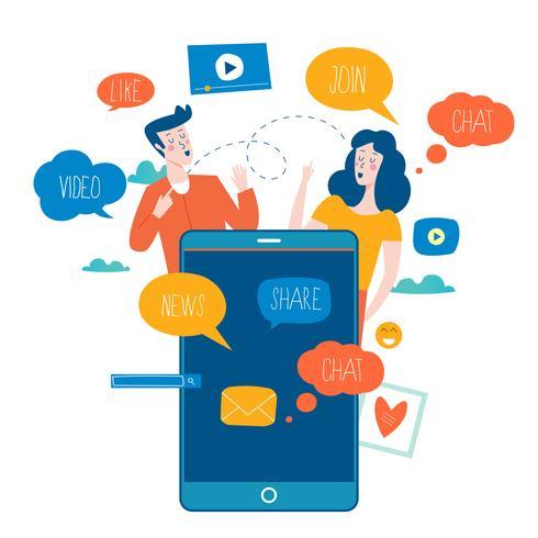 social media, social networking vettore
