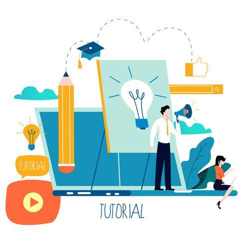 Formazione professionale, educazione, tutorial online vettore