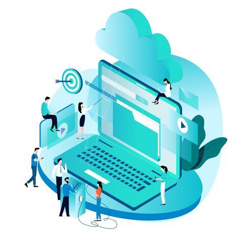 Concetto isometrico moderno per servizi e tecnologie di cloud computing vettore