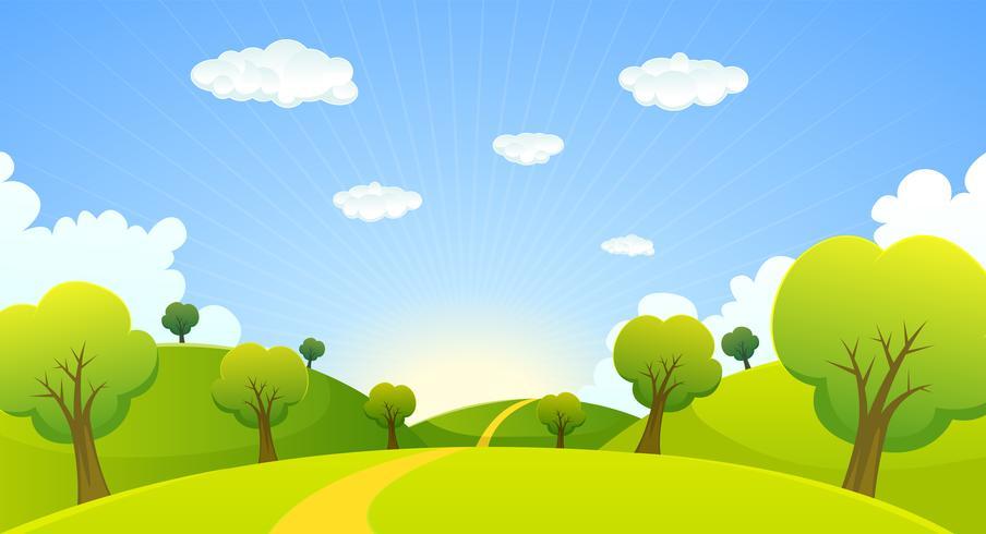 Primavera o estate paesaggio dei cartoni animati vettore