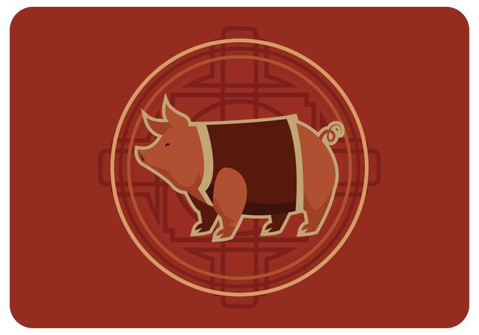 Vettore di nuovo anno maiale cinese