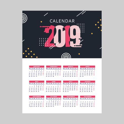 2019 vettoriale calendario stampabile