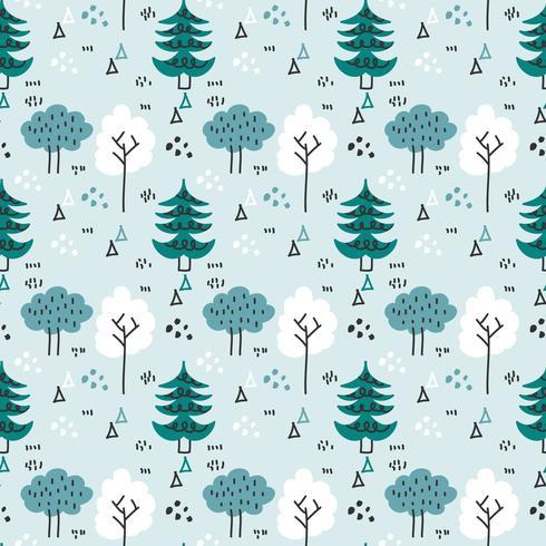Inverno scandinavo Forest Vector Pattern