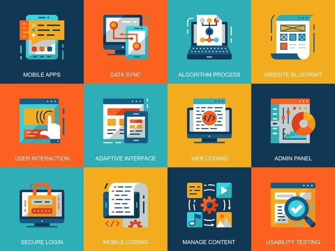 Set di icone di sviluppo Web vettore