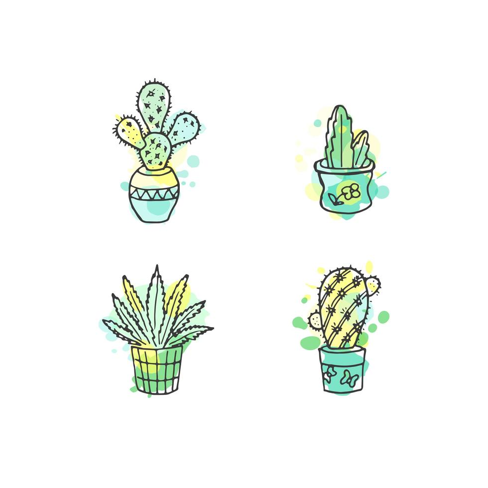 Vector cactus hand drawn set with paint splashes