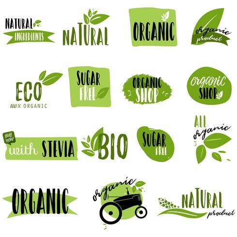 Adesivi e distintivi per alimenti e bevande biologici vettore