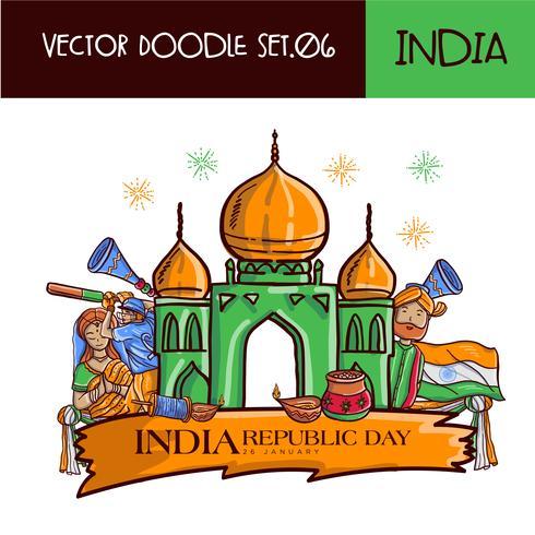 Vettore disegnato a mano dell'illustrazione di giorno della Repubblica indiana