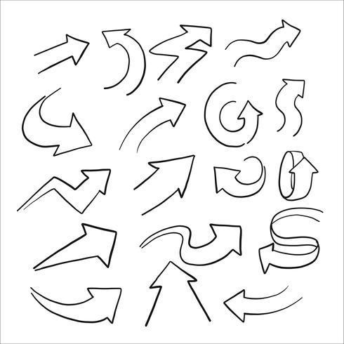 Schizzo disegnato a mano di freccia Set vettore
