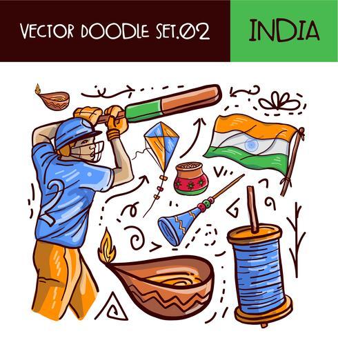 Set di icone giorno della Repubblica indiana vettore