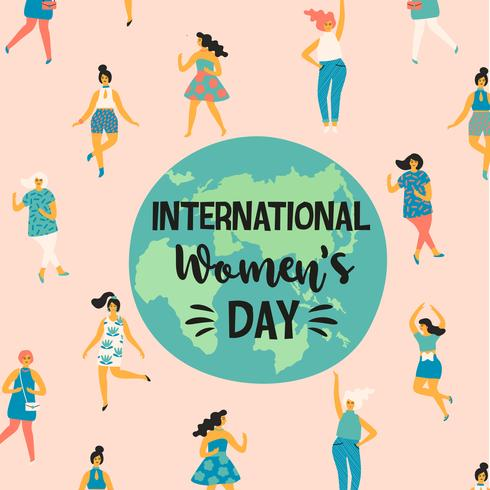 Giornata internazionale della donna. Illustrazione vettoriale con donne danzanti.
