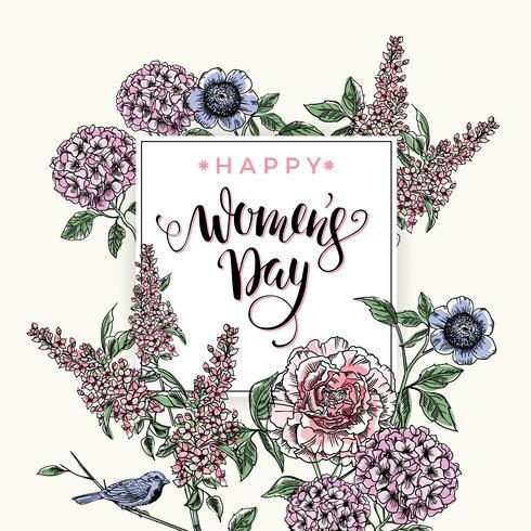 Giornata internazionale della donna. Design di lettere con fiori vettore