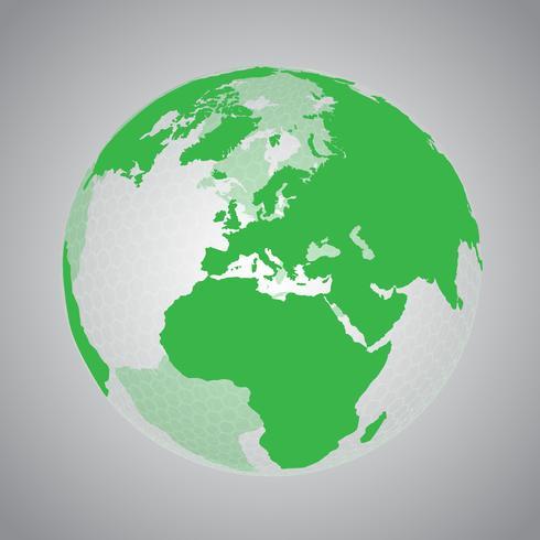 Terra verde con rete esagonale vettore