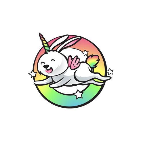 unicorno di elefante di salto di coniglio vettore