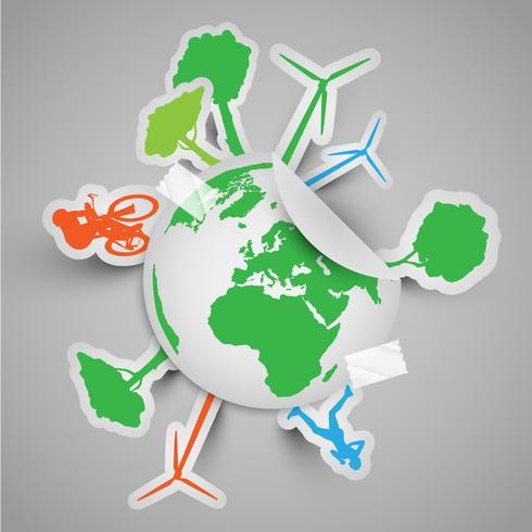Mondo adesivo con segni ecologici vettore