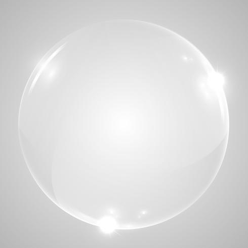 Sfera di vetro trasparente lucido, illustrazione vettoriale