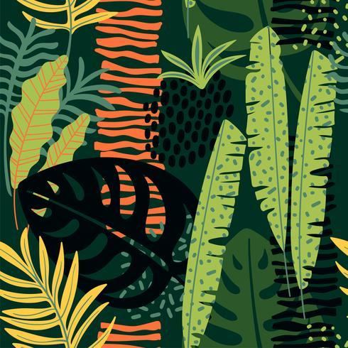 Modello senza cuciture astratto con foglie tropicali. vettore