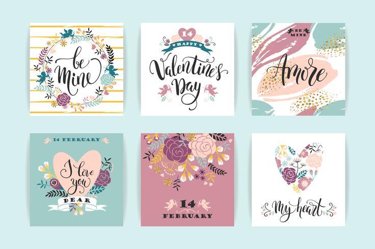 Set di carte Happy Valentines Day. vettore