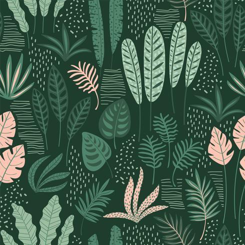 Modello senza cuciture astratto con foglie tropicali. Mano disegnare trama. vettore