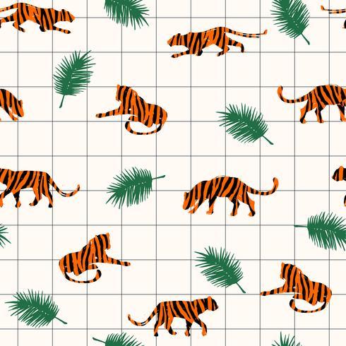 Modello esotico senza cuciture con sagome astratte di tigri. vettore