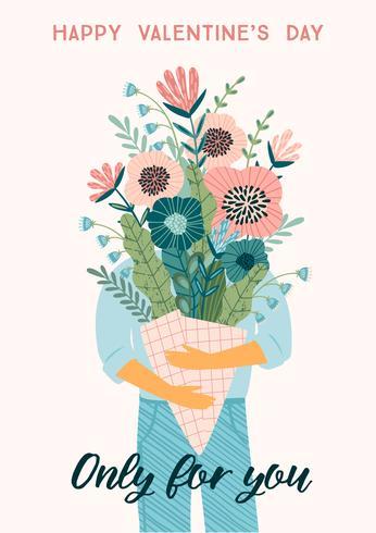 Bouquet di fiori di illustrazione. Concetto di design vettoriale per San Valentino