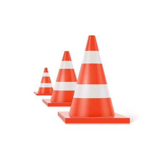Coni di traffico 3d con le bande bianche ed arancio su fondo bianco, illustrazione realistica di vettore